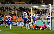 Nathaniel Chalobah about to clear ball off the line during the Sky Bet Championship match between Wolverhampton Wanderers and Reading at Molineux, Wolverhampton, England on 7 February 2015. Photo by Alan Franklin.
