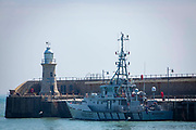 Boarder Force's HMC Searcher moored up on Folkestone Harbour Arm on the 21st of May 2020, Folkestone, United Kingdom.  HMC Searcher is one of five cutter ships that are operated by UK Boarder Force patrolling the waters and coastline of the United Kingdom.