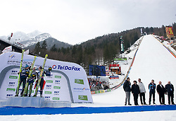 Second placed SCHLIERENZAUER Gregor, SV Innsbruck-Bergisel, AUT,  Winner AMMANN Simon, RG Churfirsten, SUI and third placed JACOBSEN Anders, Ringkollen Skiklubb, NOR celebrate after the Flying Hill Individual Race at 3rd day of FIS Ski Flying World Championships Planica 2010, on March 20, 2010, Planica, Slovenia.  (Photo by Vid Ponikvar / Sportida)