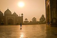 Morning visitors at the Taj Mahal in Agra, Uttar Pradesh, India