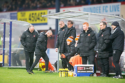 Dundee United's manager Mixu Paatelainen and bench. <br /> Dundee 2 v 1  Dundee United, SPFL Ladbrokes Premiership game played 2/1/2016 at Dens Park.