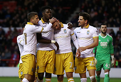 Sheffield Wednesday's Jordan Rhodes (centre) celebrates scoring his side's second goal of the game with teammates