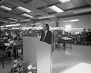 Opening of Telectron Factory in Donegal.<br /> 1974.<br /> 08.04.1974.<br /> 04.08.1974.<br /> 8th April 1974.<br /> Today saw the official opening of the Telectron Electronics factory in Donegal. The Factory opened at The Gaeltacht Industrial Park, Bunbeg, Co Donegal. It saw a welcome jobs boost for what is regarded as one of the countries employment blackspots. The Minister for Posts and Telegraphs,Mr Conor Cruise-O'Brien was on hand to officiate at the opening.<br /> Image of Minister for Posts & Telegraphs,Dr Conor Cruise - O'Brien as he welcomes the opening of the new Telectron factory at Bunbeg ,Co Donegal.