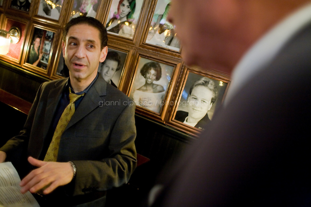 8 October, 2008. New York, NY. Comic and m.c. D.F. Sweedler (left) advises Harry Hurt III, columnist of Executive Pursuits for The New York Times,  minutes before his performance as a stand-comic at the Comic Strip club in Manhattan, NY.<br /> <br /> ©2008 Gianni Cipriano for The New York Times<br /> cell. +1 646 465 2168 (USA)<br /> cell. +1 328 567 7923 (Italy)<br /> gianni@giannicipriano.com<br /> www.giannicipriano.com