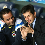 Fenerbahce's Semih Senturk (L) and Emre Belozoglu (R) during their UEFA Europa League Semi Final first match Fenerbahce between Benfica at Sukru Saracaoglu stadium in Istanbul Turkey on Thursday 25 April 2013. Photo by Aykut AKICI/TURKPIX