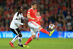 2nd September 2017 - 2018 FIFA World Cup Qualifying (Group D) - Wales v Austria - Sam Vokes of Wales battles with Kevin Danso of Austria - Photo: Simon Stacpoole / Offside.