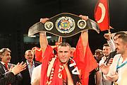 Boxing: Cruiserweight, WBO European Championship, Nuri Seferi (ALB) - Tamas Lodi (HUN), Hamburg, 16.05.2014<br /> Nuri Seferi (ALB) celebrates<br /> ©Torsten Helmke