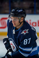 PENTICTON, CANADA - SEPTEMBER 9: Cristiano DaGiacinto #87 of Winnipeg Jets warms up against the Edmonton Oilers on September 9, 2017 at the South Okanagan Event Centre in Penticton, British Columbia, Canada.  (Photo by Marissa Baecker/Shoot the Breeze)  *** Local Caption ***
