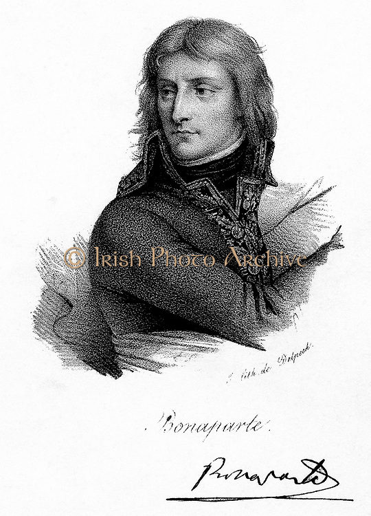 Napoleon I (Napoleon Bonaparte) 1769-1821. Emperor of France from 1804. Napoleon as a young man. Lithograph c1830.