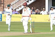 WICKET - Richard Levi is bowled by Chris Wright during the Specsavers County Champ Div 2 match between Leicestershire County Cricket Club and Northamptonshire County Cricket Club at the Fischer County Ground, Grace Road, Leicester, United Kingdom on 11 September 2019.