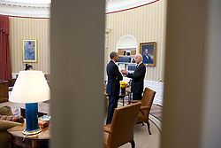 President Barack Obama talks with Vice President Joe Biden in the Oval Office, April 15, 2015. (Official White House Photo by Chuck Kennedy)<br /> <br /> This official White House photograph is being made available only for publication by news organizations and/or for personal use printing by the subject(s) of the photograph. The photograph may not be manipulated in any way and may not be used in commercial or political materials, advertisements, emails, products, promotions that in any way suggests approval or endorsement of the President, the First Family, or the White House.