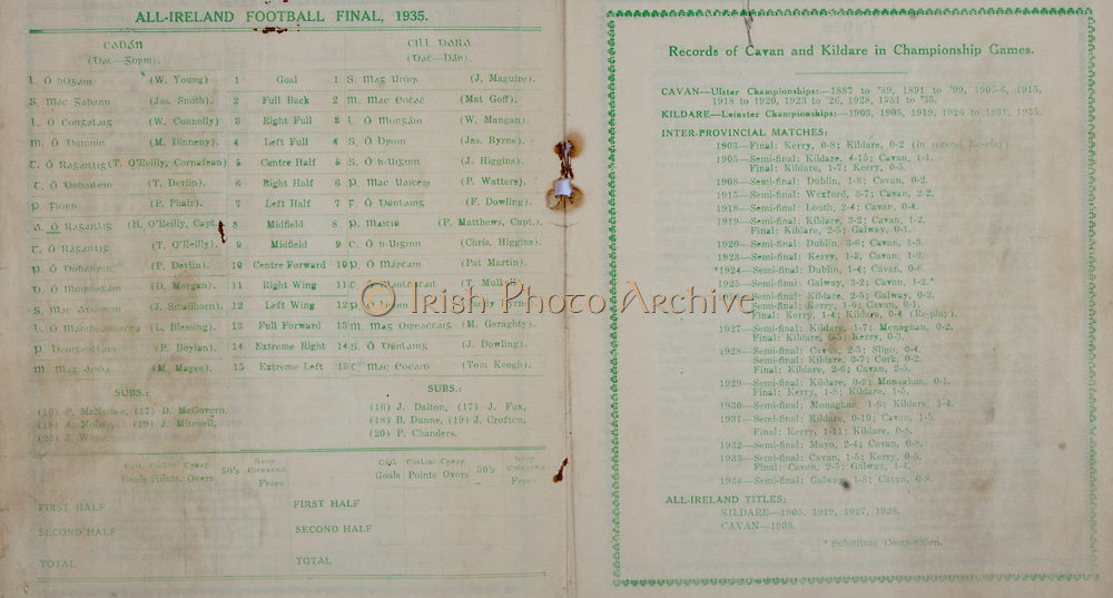 All Ireland Senior Football Final, Cavan v Kildare, 22.09.1935, 09.22.1935, 22nd September 1935, Cavan 3-06 Kildare 2-05, 22091935AISFCF,.Cavan, W Young, Jas Smith, W Connolly, M Dinneny, T O'Reilly, T Devlin, P Phair, H O'Reilly Captain, T O'reilly, P Devlin, D Morgan, J Sinallhorn, L Blessing, P Boylan, M Magee, subs, P McNamee, J Molloy, J White, D Mcgovern, J Mitchell, .Kildare, J Maguire, Mat Goff, W Mangan, Jas Byrne, J Higgins, P Watters, F Dowling, P Matthews F Dowling, P Matthews captain, Chris Higgins, Pat Martin, T Mulhall, Paddy Byrne, M Geraghty, J Dowling, Tom Keogh,