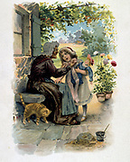 Little Red Riding Hood  with her grandmother. French trade card c1900 illustrating the fairy tale by the French author Charles Perrault (1628-1703).  Literature Juvenile  Chromolithograph