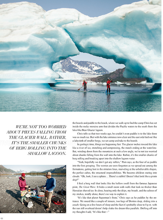 Editorial feature on standup paddle boarding at Bear Glacier in Alaska's Kenai Fjords National Park.