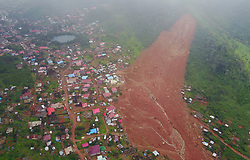 August 17, 2017 - Freetown, Sierra Leone - Aerial shows the mudslide site in Freetown, Sierra Leone. Altogether 331 bodies have been taken to the morgue by the rescue team following the devastating mudslide, according to Sinneh Kamara, head of the Connaught Mortuary in Freetown, capital of Sierra Leone. (Credit Image: © Chen Cheng/Xinhua via ZUMA Wire)