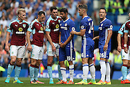 squaring up in the box as Ben Mee of Burnley (l), Dean Marney of Burnley, Michael Keane of Burnley hold Diego Costa of Chelsea, Gary Cahill of Chelsea and John Terry, the Chelsea captain before a corner is taken. Premier league match, Chelsea v Burnley at Stamford Bridge in London on Saturday 27th August 2016.<br /> pic by John Patrick Fletcher, Andrew Orchard sports photography.