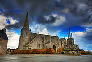 Picture of the Old Church of Silverhill in Runan, Cotes d'armor, Brittany, on a beautiful cloudy morning
