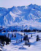 Snow-covered peaks of the St. Elias Mountains west of the Klehini River, Tatshenshini-Alsek Wilderness Provincial Park, British Columbia, Canada.