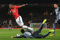 31st October 2017 - UEFA Champions League - Group A - Manchester United v SL Benfica - Douglas of Benfica fouls Anthony Martial of Man Utd to concede a penalty - Photo: Simon Stacpoole / Offside.