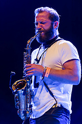 © Licensed to London News Pictures. 29/05/2014. Barcelona, Spain.   Colin Stetson performing live at .   Colin Stetson is an american saxophonist and multireedist, and touring member of the bands Arcade Fire, Bell Orchestre and Bon Iver.  Primavera Sound, or simply Primavera, is an annual music festival that takes place in Barcelona, Spain in late May/June within the Parc del Fòrum leisure site. Photo credit : Richard Isaac/LNP