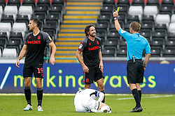 Referee Oliver Langford shoes Joe Allen of Stoke City a yellow card, for his foul on Matt Grimes of Swansea City - Andrew Lewis/JMP - 05/10/2019 - FOOTBALL - Liberty Stadium - Swansea, England - Swansea City v Stoke City - Sky Bet Championship
