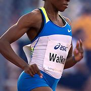 Melaine Walker of Jamaica winning the Women's 400m Hurdles event at the Sydney Track Classic 2009 held at Sydney Olympic Park Athletics Centre, Sydney, Australia on February 28, 2009. Photo Tim Clayton