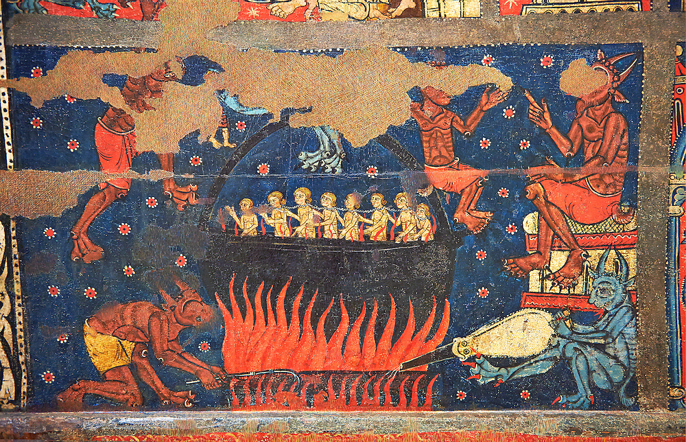 Gothic altar panel depicting scenes of hell with the damned in a colder being heated by the devil. End of the 13th century, tempera on a spruce wooden panel  from  The Church of Sant Miguel de Soriguerola, Cerdanya, Huesca, Spain. Inv MNAC 43901. National Museum of Catalan Art (MNAC), Barcelona, Spain .<br /> <br /> If you prefer you can also buy from our ALAMY PHOTO LIBRARY  Collection visit : https://www.alamy.com/portfolio/paul-williams-funkystock/romanesque-art-antiquities.html<br /> Type -     MNAC     - into the LOWER SEARCH WITHIN GALLERY box. Refine search by adding background colour, place, subject etc<br /> <br /> Visit our ROMANESQUE ART PHOTO COLLECTION for more   photos  to download or buy as prints https://funkystock.photoshelter.com/gallery-collection/Medieval-Romanesque-Art-Antiquities-Historic-Sites-Pictures-Images-of/C0000uYGQT94tY_Y