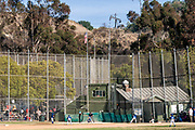 Little League field next to oil well, The Inglewood Oil Field is one of the largest contiguous urban oil fields in the United States, Culver City, Los Angeles, California, USA
