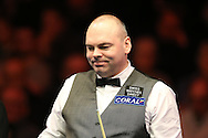 Stuart Bingham of England in action during his 1st round match against Matthew Stevens of Wales . Coral Welsh Open Snooker 2017, day 1 at the Motorpoint Arena in Cardiff, South Wales on Monday 13th February 2017.<br /> pic by Andrew Orchard, Andrew Orchard sports photography.