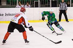 Hebar Andrej of HK SZ Olimpija during ice hockey match between  HK SZ Olimpija and HDD SIJ Acroni Jesenice in 23rd Round of AHL - Alps Hockey League 2017/18, on December 16, 2017 in Hala Tivoli, Ljubljana, Slovenia. Photo by Vid Ponikvar / Sportida