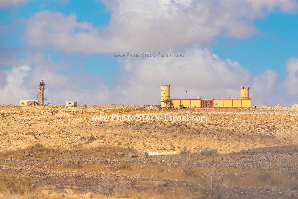 Route 10 along the Egyptian - Israeli border. Looking into Egypt from Israel. Egyptian Military Guard tower and border patrol base