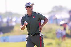 May 18, 2018 - Dallas, TX, U.S. - DALLAS, TX - MAY 18: Adam Scott of Australia acknowledges the gallery after making birdie on #17 during the second round of the 50th anniversary AT&T Byron Nelson on May 18, 2018 at Trinity Forest Golf Club in Dallas, TX.  (Photo by Andrew Dieb/Icon Sportswire) (Credit Image: © Andrew Dieb/Icon SMI via ZUMA Press)