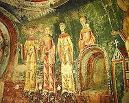 Eleventh Century Romanesque frescoes of the side Apse of Sant Quirze de Pedret showing the parabel of the Ten Virgins from the Gospel of St. Matthew. The church of Sant Quize de Padret, Cercs, Bergueda, Sapin. National Art Museum of Catalonia, Barcelona. MNAC 15973 ...<br /> <br /> If you prefer you can also buy from our ALAMY PHOTO LIBRARY  Collection visit : https://www.alamy.com/portfolio/paul-williams-funkystock/romanesque-art-antiquities.html<br /> Type -     MNAC     - into the LOWER SEARCH WITHIN GALLERY box. Refine search by adding background colour, place, subject etc<br /> <br /> Visit our ROMANESQUE ART PHOTO COLLECTION for more   photos  to download or buy as prints https://funkystock.photoshelter.com/gallery-collection/Medieval-Romanesque-Art-Antiquities-Historic-Sites-Pictures-Images-of/C0000uYGQT94tY_Y