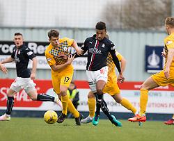 Morton's Mark Russell and Falkirk's Nathan Austin. half time ; Falkirk 0 v 0 Morton, Scottish Championship game played 18/3/2017 at The Falkirk Stadium.