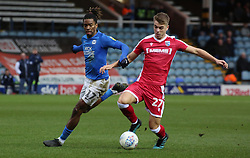 Ivan Toney of Peterborough United in action with Jack Tucker of Gillingham - Mandatory by-line: Joe Dent/JMP - 11/01/2020 - FOOTBALL - Weston Homes Stadium - Peterborough, England - Peterborough United v Gillingham - Sky Bet League One