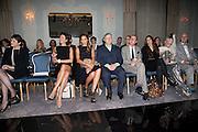 FRONT ROW; MAINLY JUDGES; KRISTINA BLAHNIK; YASMIN LE BON; STEPHEN JONES; GIANLUCA LONGO; ELIZABETH SALTZMAN; DAPHNE GUINNESS; MANOLO BLAHNIK, The Dorchester Collection fashion prize.  Dorchester Hotel. London. 19 October 2010. ends at 8 p.m. competition. rsvp's to Jackie-DO NOT ARCHIVE-© Copyright Photograph by Dafydd Jones. 248 Clapham Rd. London SW9 0PZ. Tel 0207 820 0771. www.dafjones.com.