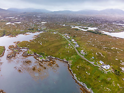 Aerial view from drone of village of Ardvey on The Bays on East coast of Isle of Harris, Outer Hebrides, Scotland, UK