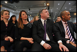 L to R Yvette Cooper Shadow Home Secretary, Gloria De Piero, Ed Balls, Shadow Business Minister Chuka Umunna at the Labour Party Special Conference being held at the Excel Centre. London, United Kingdom. Saturday, 1st March 2014. Picture by Andrew Parsons / i-Images