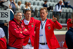 BECKER Otto (Bundestrainer Springen), DEUSSER Daniel (GER), AHLMANN Christian (GER)<br /> Rotterdam - Europameisterschaft Dressur, Springen und Para-Dressur 2019<br /> Parcoursbesichtigung<br /> Longines FEI Jumping European Championship - 1st part - speed competition against the clock<br /> 1. Runde Zeitspringen<br /> 21. August 2019<br /> © www.sportfotos-lafrentz.de/Stefan Lafrentz