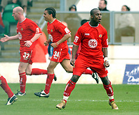 Photo: Daniel Hambury.<br /> Milton Keynes Dons V Bristol City.<br /> Coca Cola League One.<br /> 09/04/2005.<br /> Bristol City's Leroy Lita celebrates his goal.