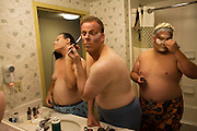 Three men start their transformation from men to drag queens for an evening event in Sacramento,CA.