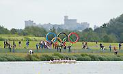 Eton Dorney, Windsor, Great Britain,..2012 London Olympic Regatta, Dorney Lake. Eton Rowing Centre, Berkshire[ Rowing]...Start, Women's Eights. GBR W8+, GER W8+ NED W8+. AUS W8+ Dorney Lake. 10:55:25  Tuesday  10:55:25   [Mandatory Credit: Peter Spurrier/Intersport Images].