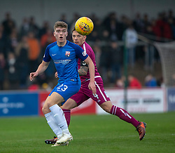 Montrose Euan Henderson and Arbroath's Ricky Little. half time : Arbroath 1 v 0 Montrose, Scottish Football League Division One played 10/11/2018 at Arbroath's home ground, Gayfield Park.