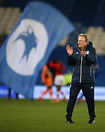 Neil Warnock, the Cardiff city manager applauds the fans after the game. EFL Skybet championship match, Cardiff city v Barnsley at the Cardiff city stadium in Cardiff, South Wales on Tuesday 6th March 2018.<br /> pic by Andrew Orchard, Andrew Orchard sports photography.