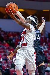 NORMAL, IL - November 05: Tete Maggett defended by Katie Jaseckas during a college women's basketball game between the ISU Redbirds and the Truman State Bulldogs on November 05 2019 at Redbird Arena in Normal, IL. (Photo by Alan Look)