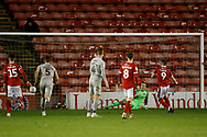 1-2, goal scored by Caolan Lavery of Walsall  during the EFL Trophy match between Walsall and Portsmouth at the Banks's Stadium, Walsall, England on 7 January 2020.