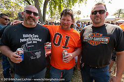 Canadians Scotty Busch, Chris Rip Rolfsen and Danny Ochs not missing the Alberta winter at the Chopper Time annual old school chopper show at Willie's Tropical Tattoo in Ormond Beach during Daytona Beach Bike Week, FL. USA. Thursday, March 14, 2019. Photography ©2019 Michael Lichter.