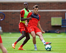 ANN ARBOR, USA - Friday, July 27, 2018: Liverpool's Rafael Camacho (left) and Pedro Chirivella (right) during a training session ahead of the preseason International Champions Cup match between Manchester United FC and Liverpool FC at the Michigan Stadium. (Pic by David Rawcliffe/Propaganda)
