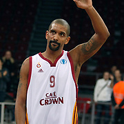 Galatasaray Cafe Crown's Preston SHUMPERT celebrate victory during their ULEB Eurocup Quarterfinals last 16 group K game 3 basketball match Galatasaray between CEZ Nymburk at the Abdi Ipekci Arena in Istanbul at Turkey on Tuesday, February, 01, 2011. Photo by TURKPIX