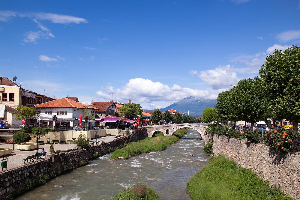 The stone bridge and town of Prizren, Kosovo.